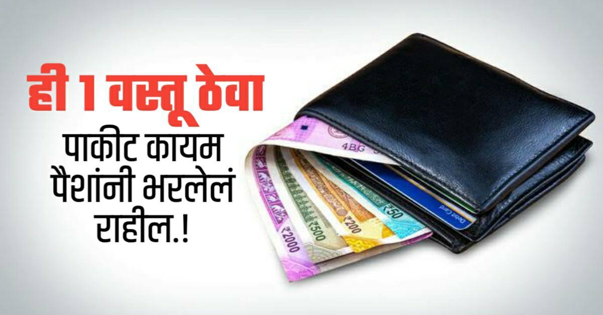 हि एक वस्तू पाकीट ठेवा; तुमचे पाकीट नेहमी पैशांनी भरलेलं राहील..!